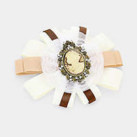 Cameo Lace Grosgrain Bow Ribbon Pin Brooch