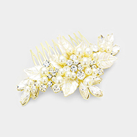 Pearl Cluster Crystal Flower Hair Comb