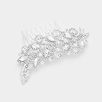 Rhinestone Pave Oval Crystal Detail Leaf Hair Comb