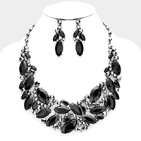 Crystal Marquise Bubble Stone Cluster Evening Necklace