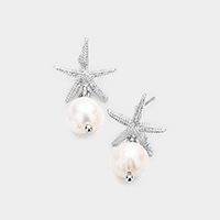 Metal Starfish Freshwater Pearl Dangle Earrings