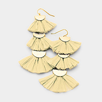 Triple Raffia Tassel Fringe Link Earrings