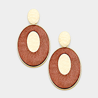 Hammered Metal Oval Wood Dangle Earrings