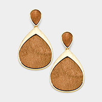 Hammered Metal Teardrop Wood Dangle Earrings