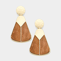 Hammered Metal Geometric Wood Dangle Earrings