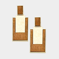 Hammered Metal Wood Rectangle Dangle Earrings