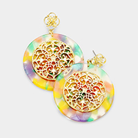 Filigree Petal Centered Celluloid Acetate Disc Earrings