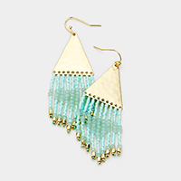 Hammered Metal Triangle Beaded Fringe Earrings