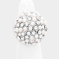 Stone Pearl Cluster Dome Stretch Ring