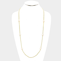 Beaded Freshwater Pearl Station Long Necklace
