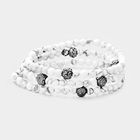 3PCS Semi Precious Beaded Shamballa Ball Stretch Bracelet