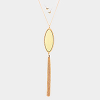 Oval Metal Drop Chain Tassel Pendant Necklace