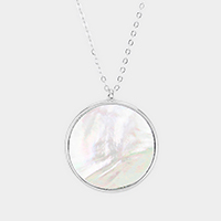 Mother of Pearl Round Pendant Long Necklace