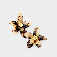 Celluloid Acetate Tortoise Bloom Flower Dangle Earrings