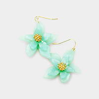 Celluloid Acetate Bloom Flower Dangle Earrings