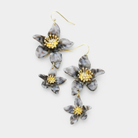 Celluloid Acetate Double Bloom Flower Link Earrings