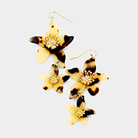 Celluloid Acetate Tortoise Double Bloom Flower Link Earrings