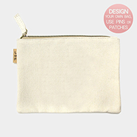 Patternless Plain Cotton Canvas Eco Pouch Bag