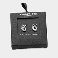 Secret Box _ White Gold Dipped Metal Mermaid Stud Earrings