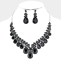 Crystal Teardrop Bubble Stone Cluster Evening Necklace