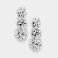 Triple Fabric Flower Link Dangle Earrings