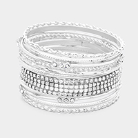 11PCS Crystal Rhinestone Embellished Bangle Bracelet
