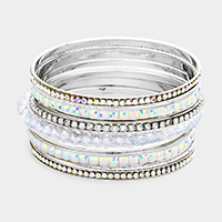 9PCS Rhinestone Square Stone Embellished Bangle Bracelet