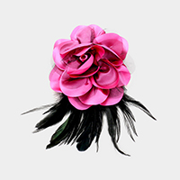 Oversized Fabric Mesh Flower Feather Fringe Pin Brooch