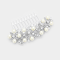 Pearl Floral Crystal Rhinestone Pave Hair Comb
