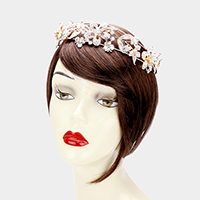 Crystal Flower Leaf Butterfly Headpiece
