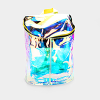 Transparent Hologram Bucket Backpack Bag