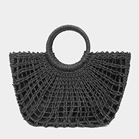 Straw Round Handle Tote Bag
