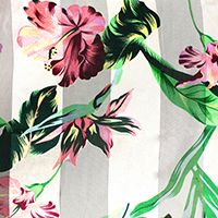 Satin Striped Flower Leaf Pattern Print Scarf