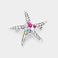 Crystal Stone Pave Starfish Pin Brooch