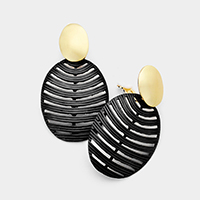 Cut Out Colored Metal Oval Clip on Earrings