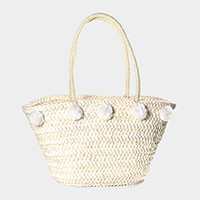 Pom pom straw beach bag