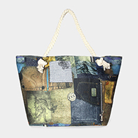 Denim patch print canvas beach bag