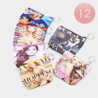 12PCS - Magazine Print Zipper Coin Purses with Key Chain