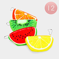 12PCS - Fruits Zipper Purses