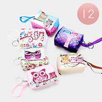 12PCS - Owl Print Mini Pouch Bags with Key Chain