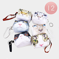 12PCS - Cat Print Mini Pouch Bags with Key Chain