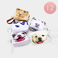 12PCS - Dog Print Mini Pouch Bags with Key Chain