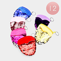 12PCS - Reversible Sequin Zipper Purses with Key Chain