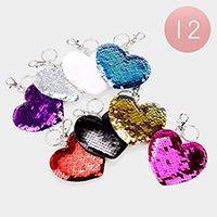 12PCS - Reversible Sequin Heart Key Chains