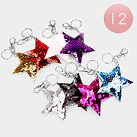 12PCS - Reversible Sequin Star Key Chains