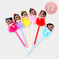 12PCS - Bun Hair Cute Girl Character Ball Pens