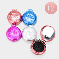 12PCS - Rose Flower Compact Folding Mirror Hair Brushes