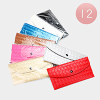 12PCS - Plaid Check Faux Leather Wallets