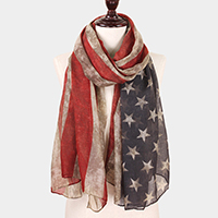 American Flag Print Oblong Scarf