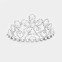 Crystal Rhinestone Pave Flower Princess Mini Tiara
